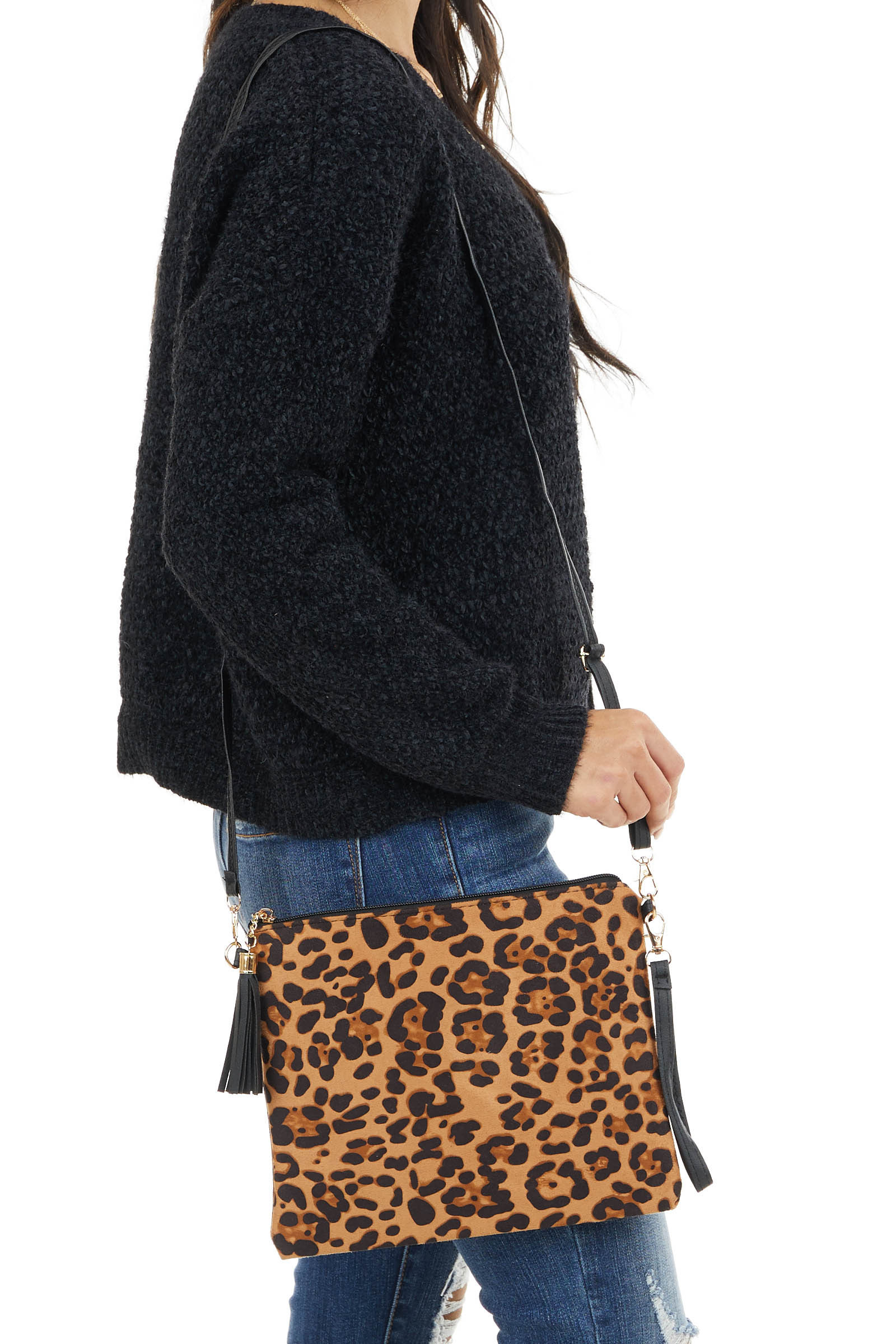 Caramel and Black Leopard Print Clutch with Detachable Strap