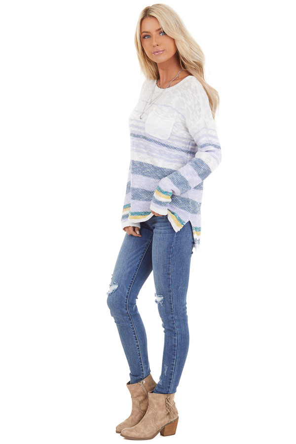 Lilac and Ocean Striped Long Sleeve Pullover Sweater side full body