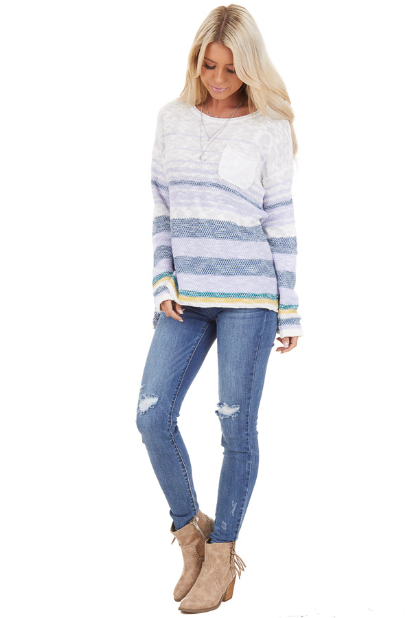 Lilac and Ocean Striped Long Sleeve Pullover Sweater front full body