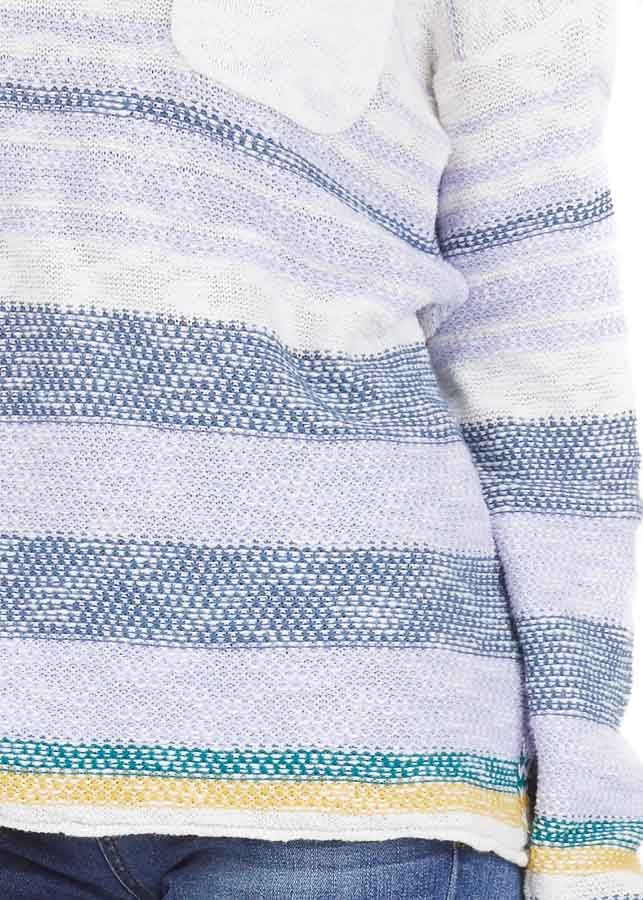 Lilac and Ocean Striped Long Sleeve Pullover Sweater detail