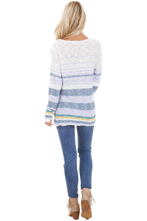 Lilac and Ocean Striped Long Sleeve Pullover Sweater back full body