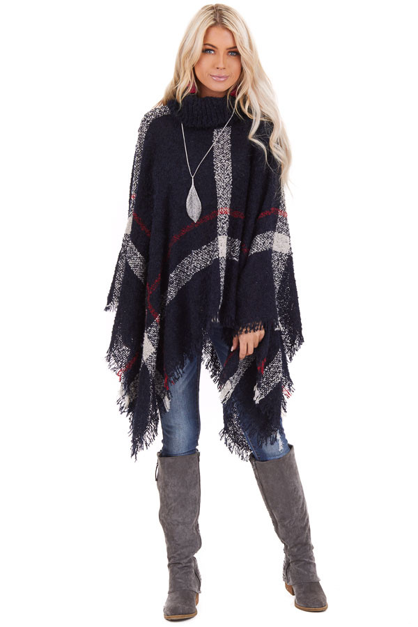Navy Plaid Turtleneck Poncho Top with Fringe Details front full body