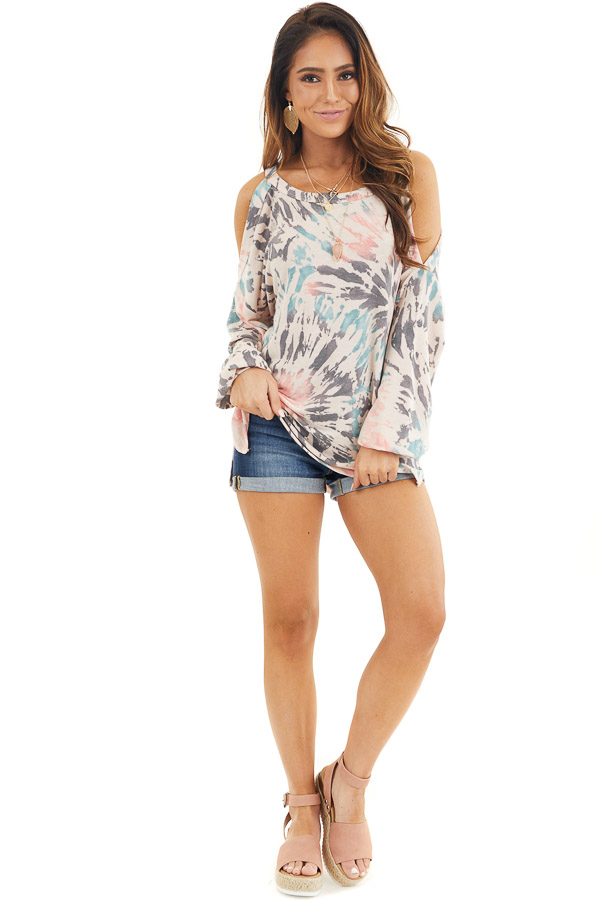 Pale Pink Tie Dye Cold Shoulder Long Sleeve Top front full body