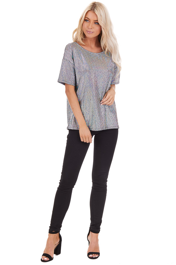 Black Sequined Short Sleeve Round Neck Top front full body