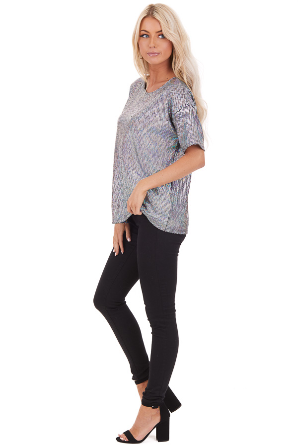 Black Sequined Short Sleeve Round Neck Top side full body