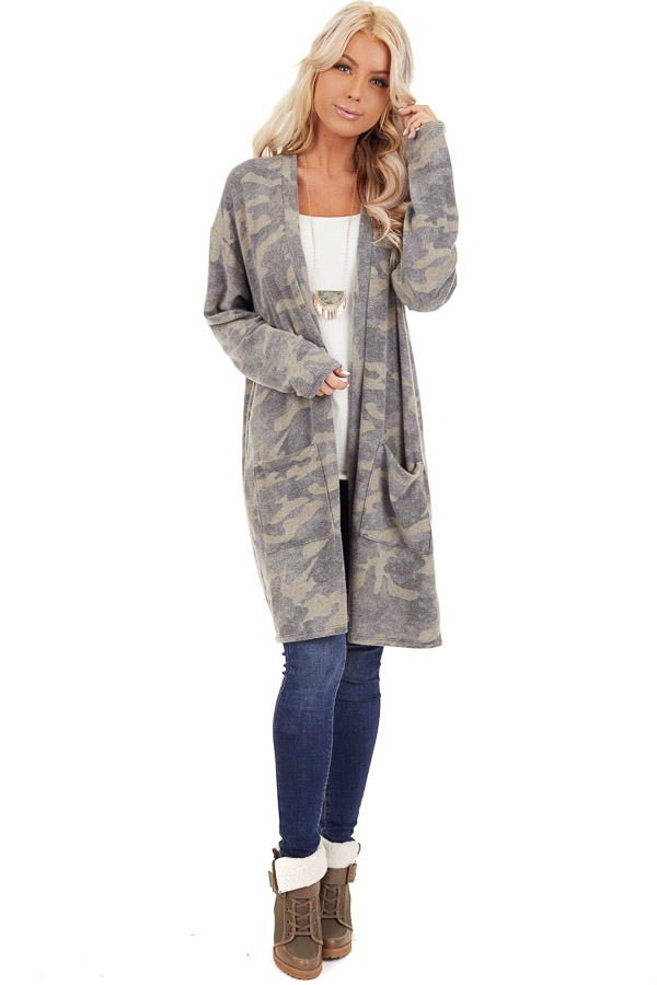 Olive Camo Print Super Soft Open Front Cardigan with Pockets front full body