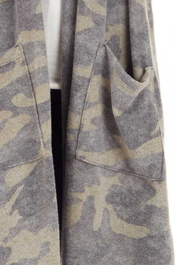 Olive Camo Print Super Soft Open Front Cardigan with Pockets detail