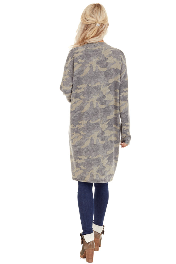 Olive Camo Print Super Soft Open Front Cardigan with Pockets back full body