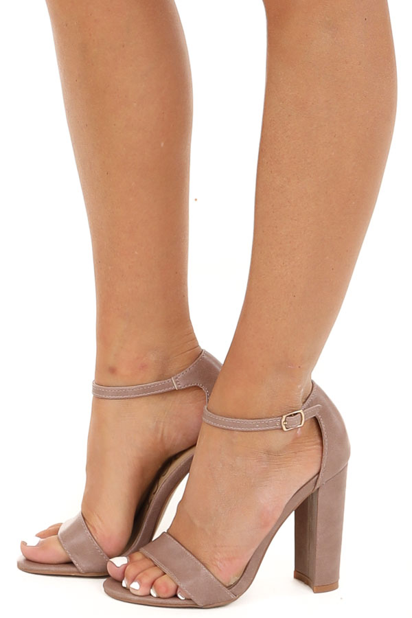Mauve Faux Leather Heels with Ankle Strap and Buckle side veiw
