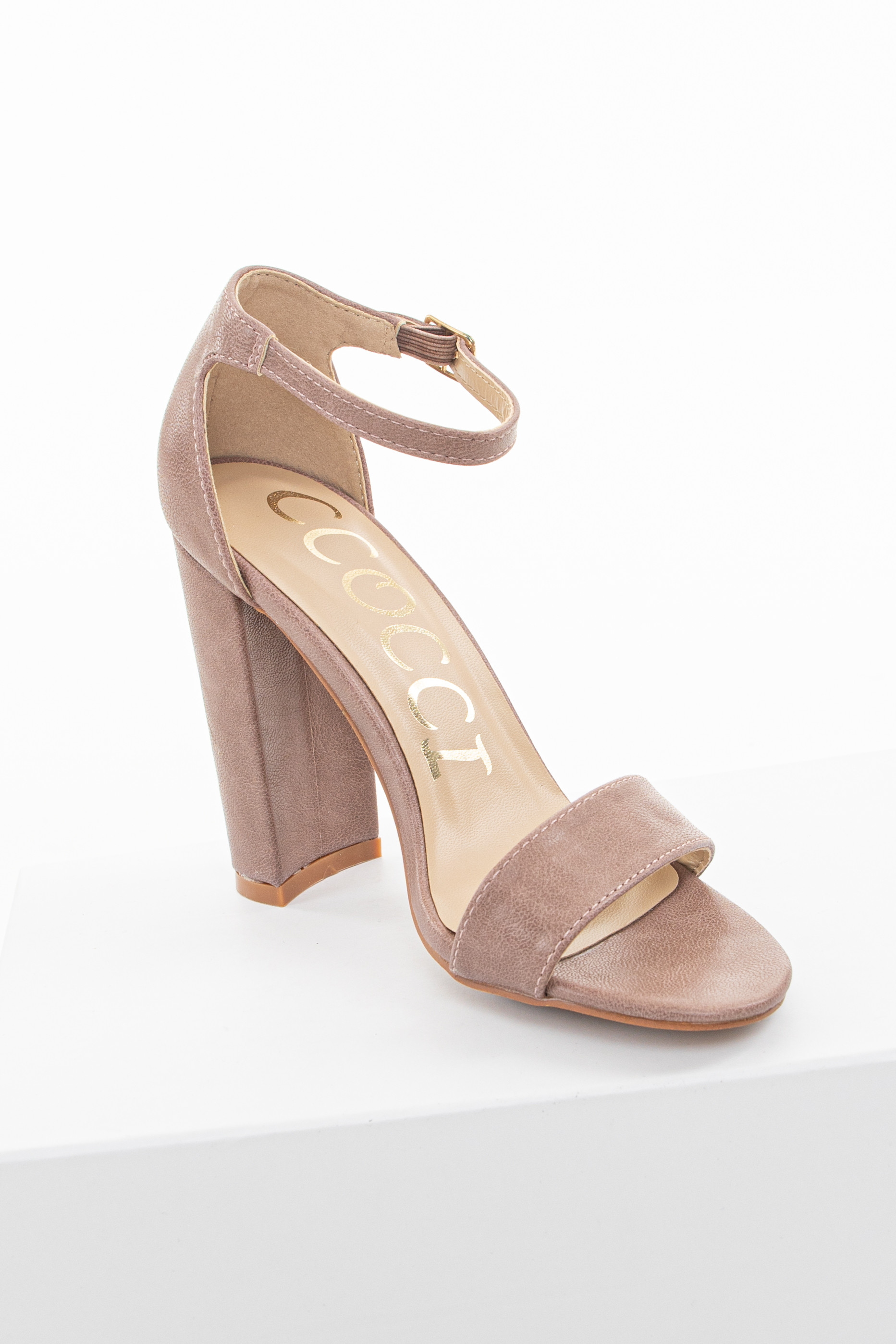 Mauve Faux Leather Heels with Ankle Strap and Buckle