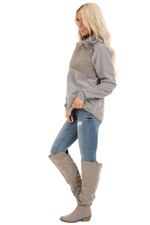 Grey Fleece Pullover Sweater with Pockets side full body