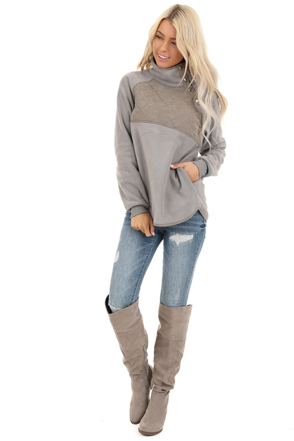 Grey Fleece Pullover Sweater with Pockets front full body