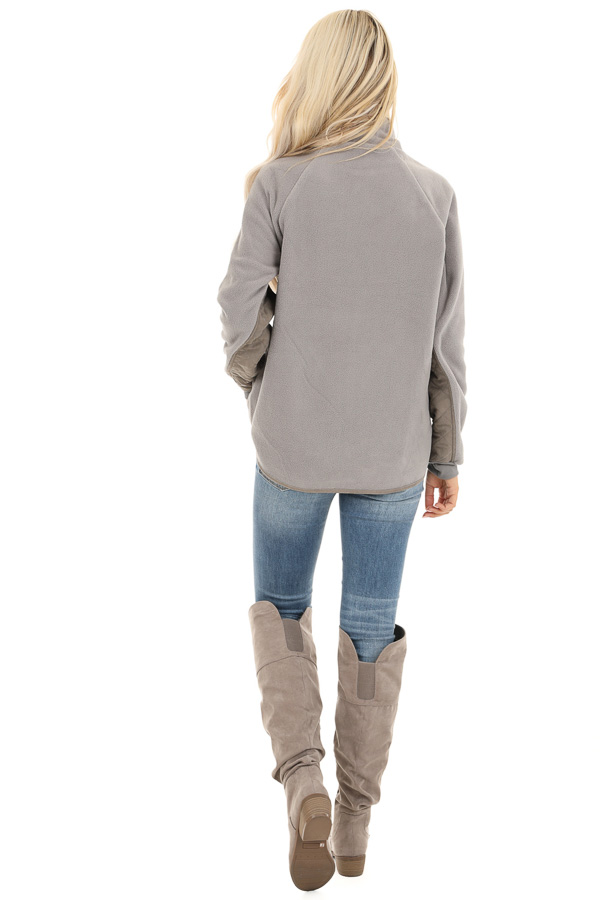 Grey Fleece Pullover Sweater with Pockets back full body