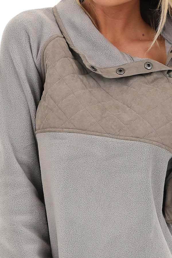 Grey Fleece Pullover Sweater with Pockets detail