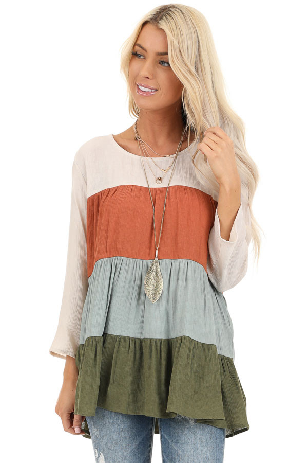 Oatmeal Color Block 3/4 Sleeve Tiered Peasant Top front close up