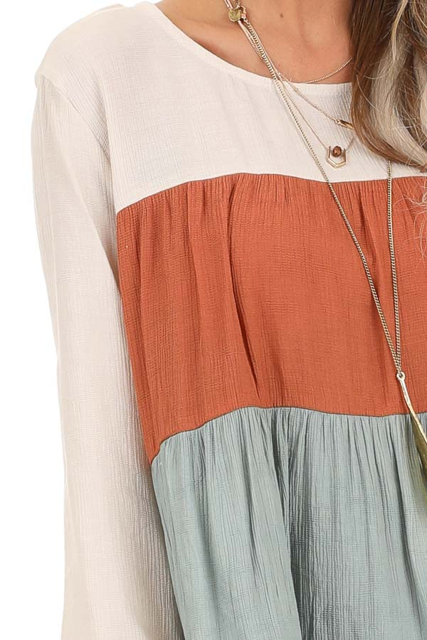 Oatmeal Color Block 3/4 Sleeve Tiered Peasant Top detail