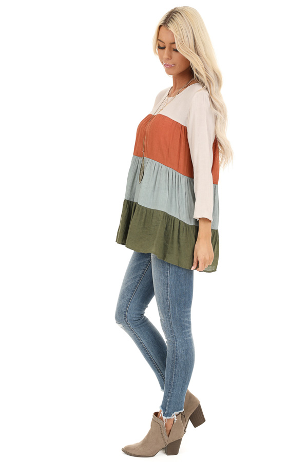 Oatmeal Color Block 3/4 Sleeve Tiered Peasant Top side full body