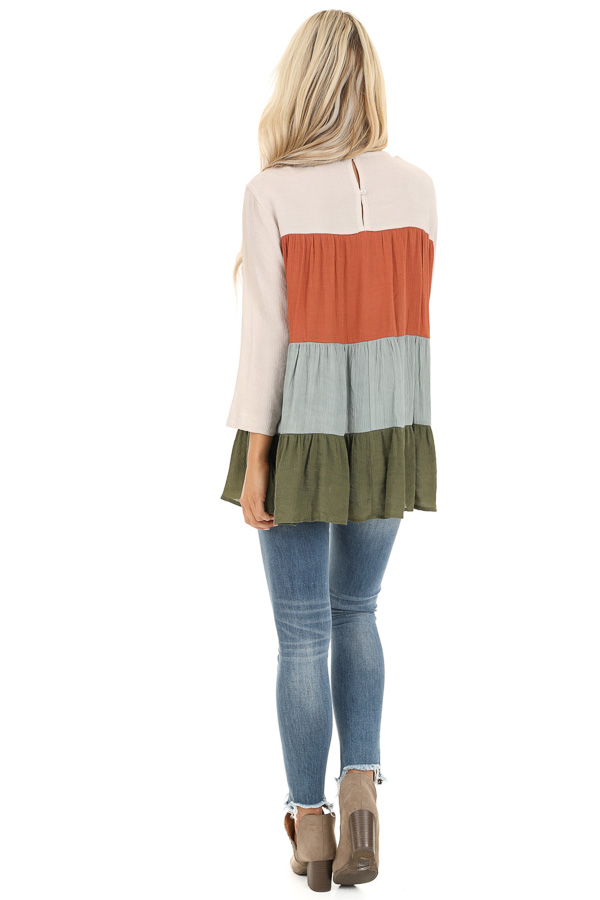 Oatmeal Color Block 3/4 Sleeve Tiered Peasant Top back full body
