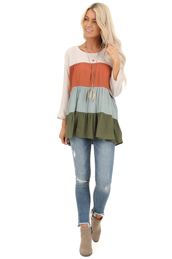 Oatmeal Color Block 3/4 Sleeve Tiered Peasant Top front full body