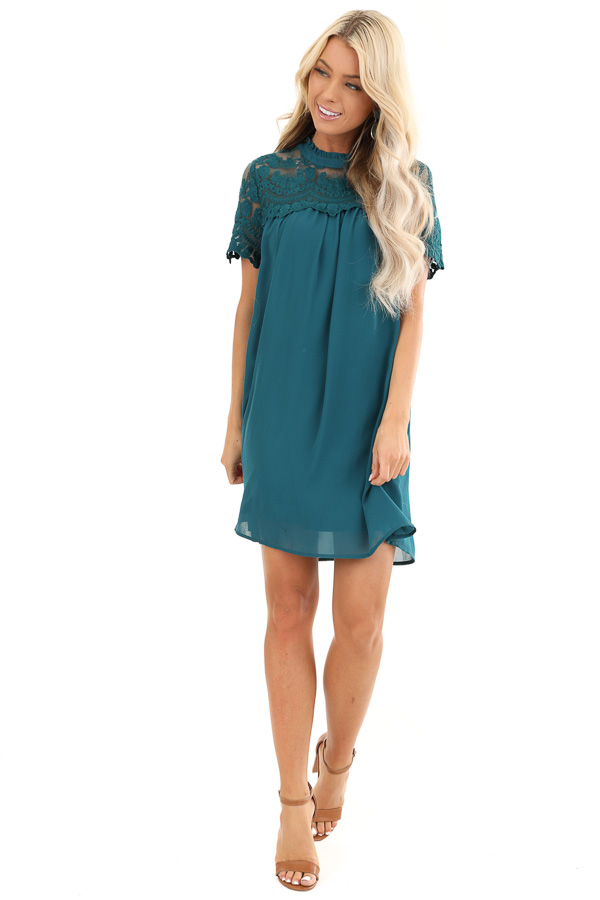 Dark Teal Short Sleeve Flowy Dress with Lace Yoke Detail front full body