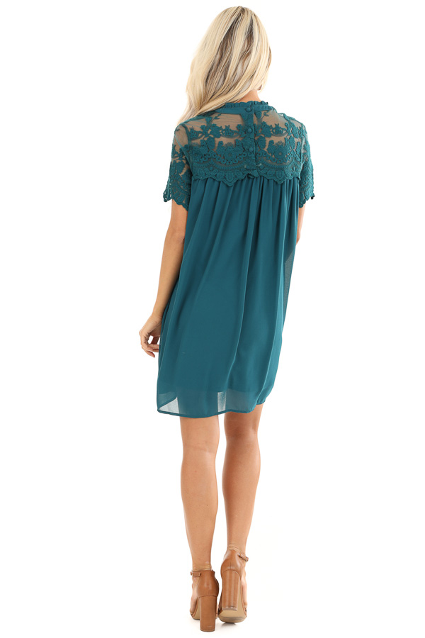 Dark Teal Short Sleeve Flowy Dress with Lace Yoke Detail back full body