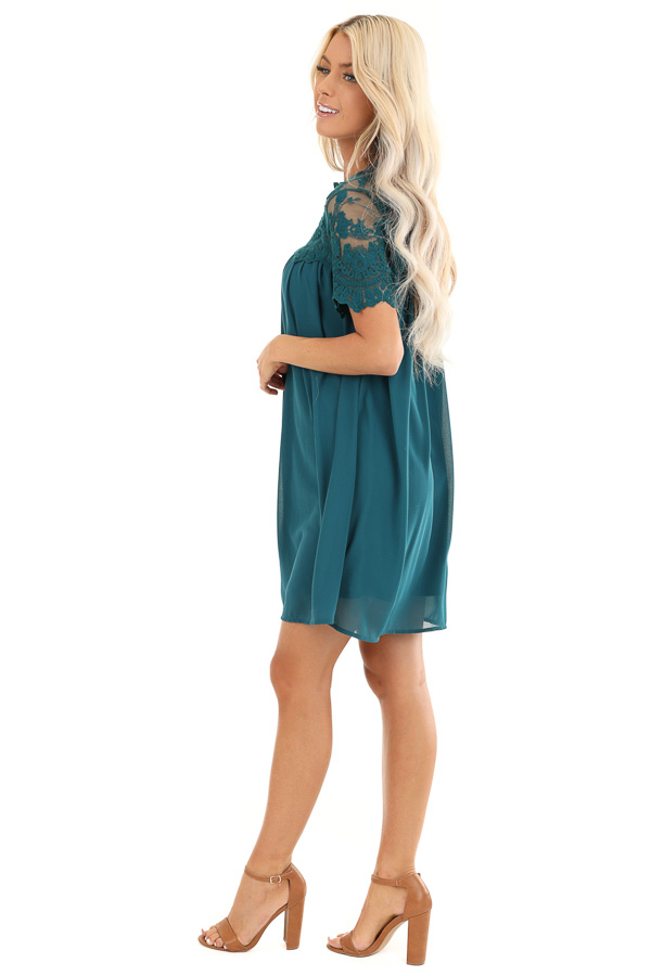Dark Teal Short Sleeve Flowy Dress with Lace Yoke Detail side full body