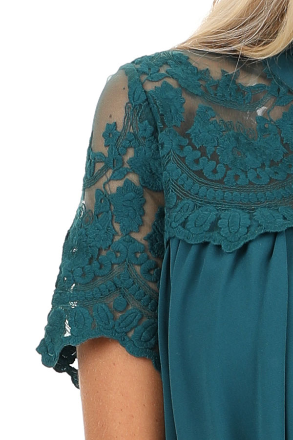 Dark Teal Short Sleeve Flowy Dress with Lace Yoke Detail detail