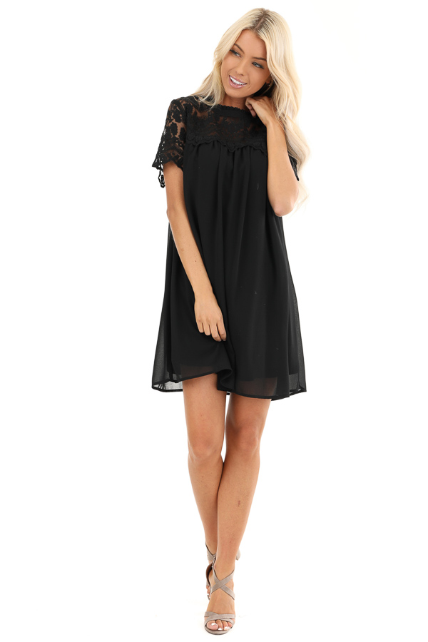 Black Short Sleeve Flowy Dress with Lace Yoke Detail front full body