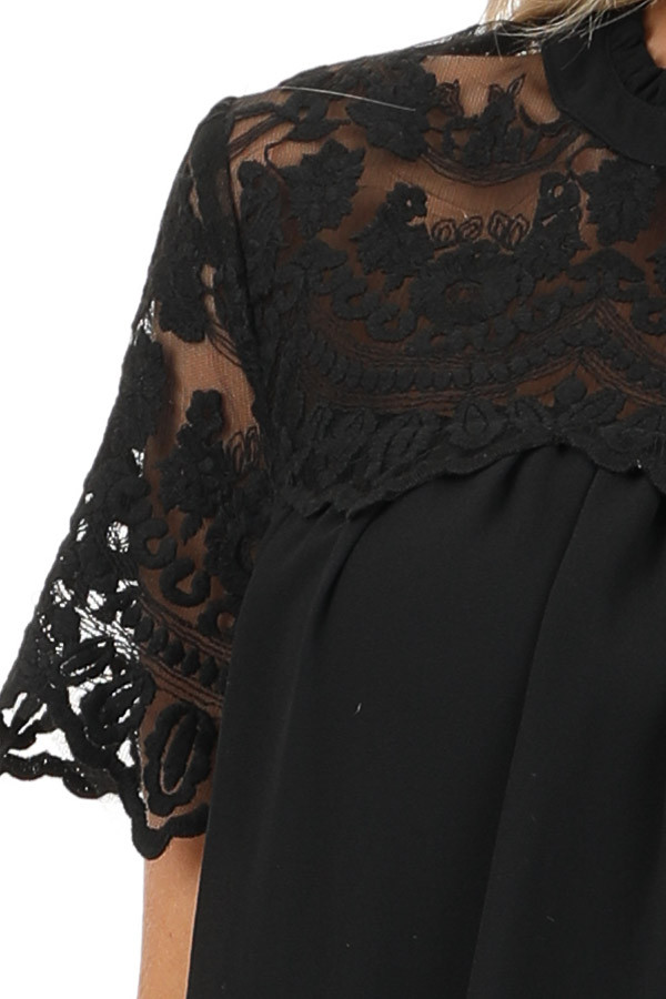 Black Short Sleeve Flowy Dress with Lace Yoke Detail detail