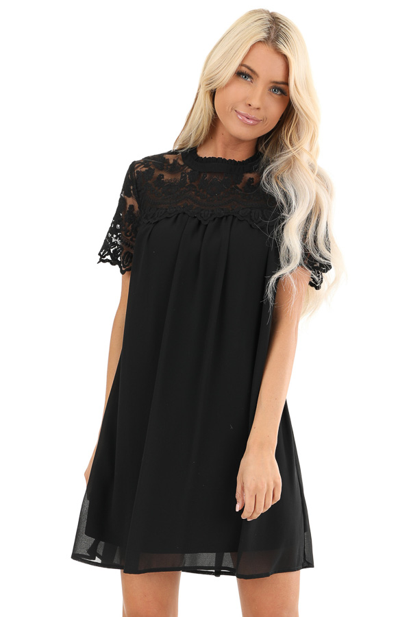 Black Short Sleeve Flowy Dress with Lace Yoke Detail front close up