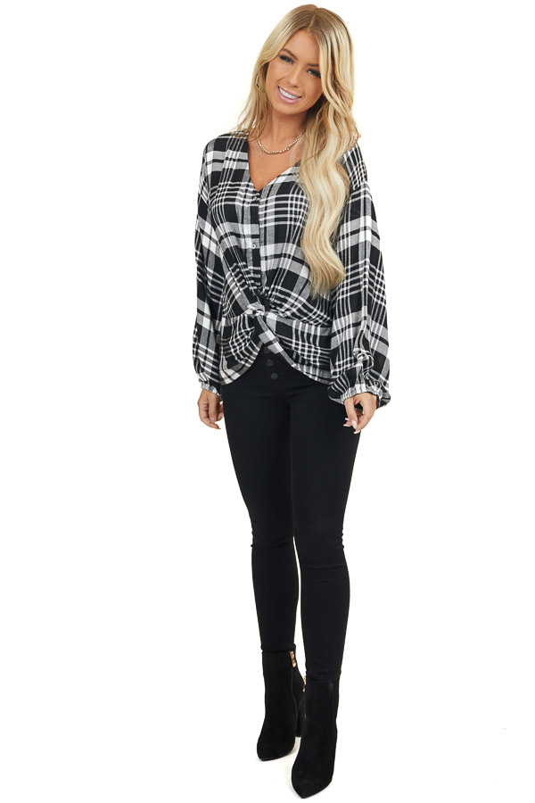 Black and White Plaid Button Up Top with Front Twist v