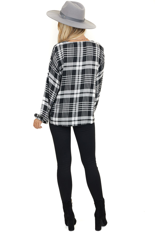 Black and White Plaid Button Up Top with Front Twist