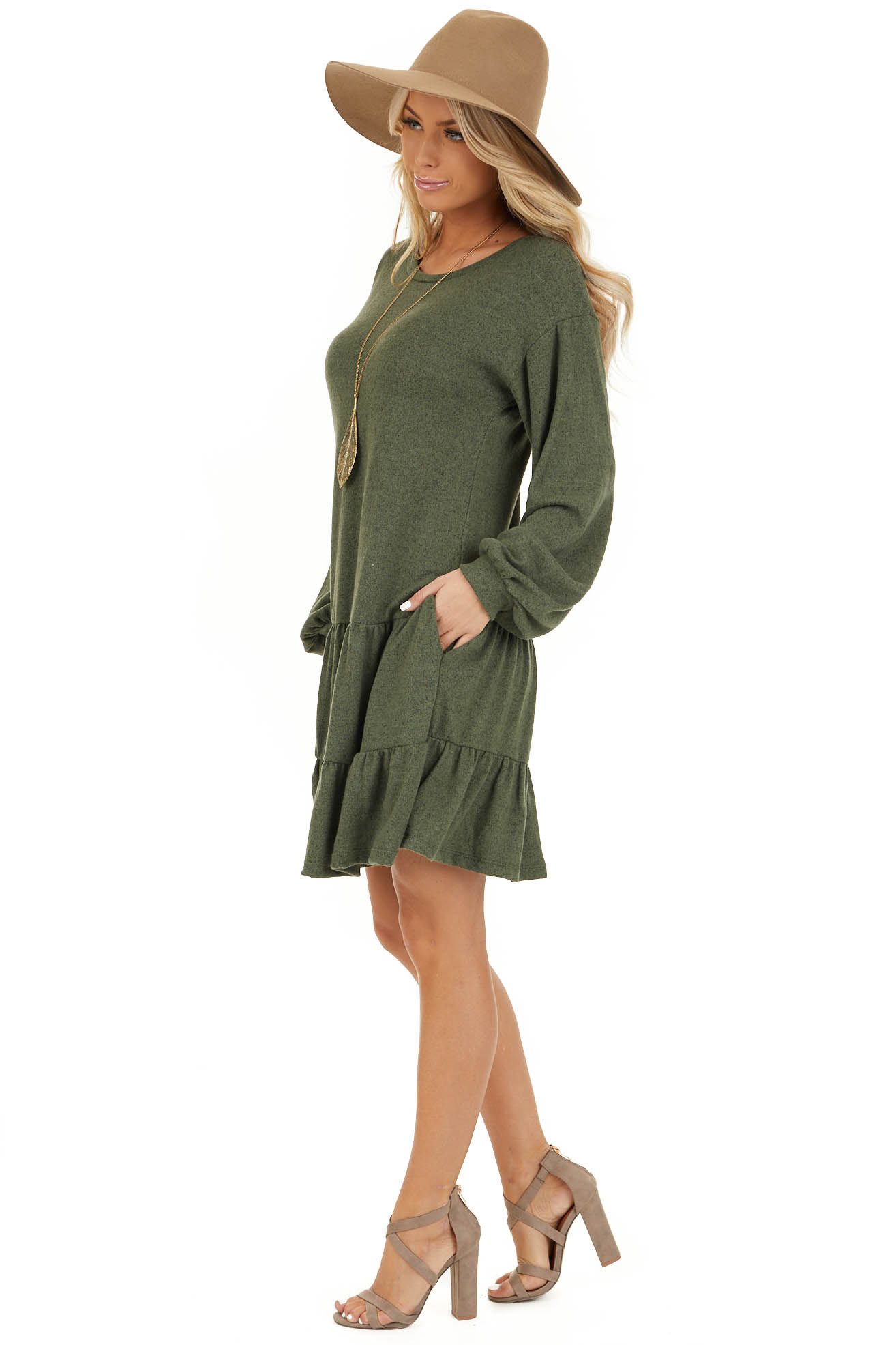 Army Green Long Bubble Sleeve Tiered Dress with Side Pockets side full body
