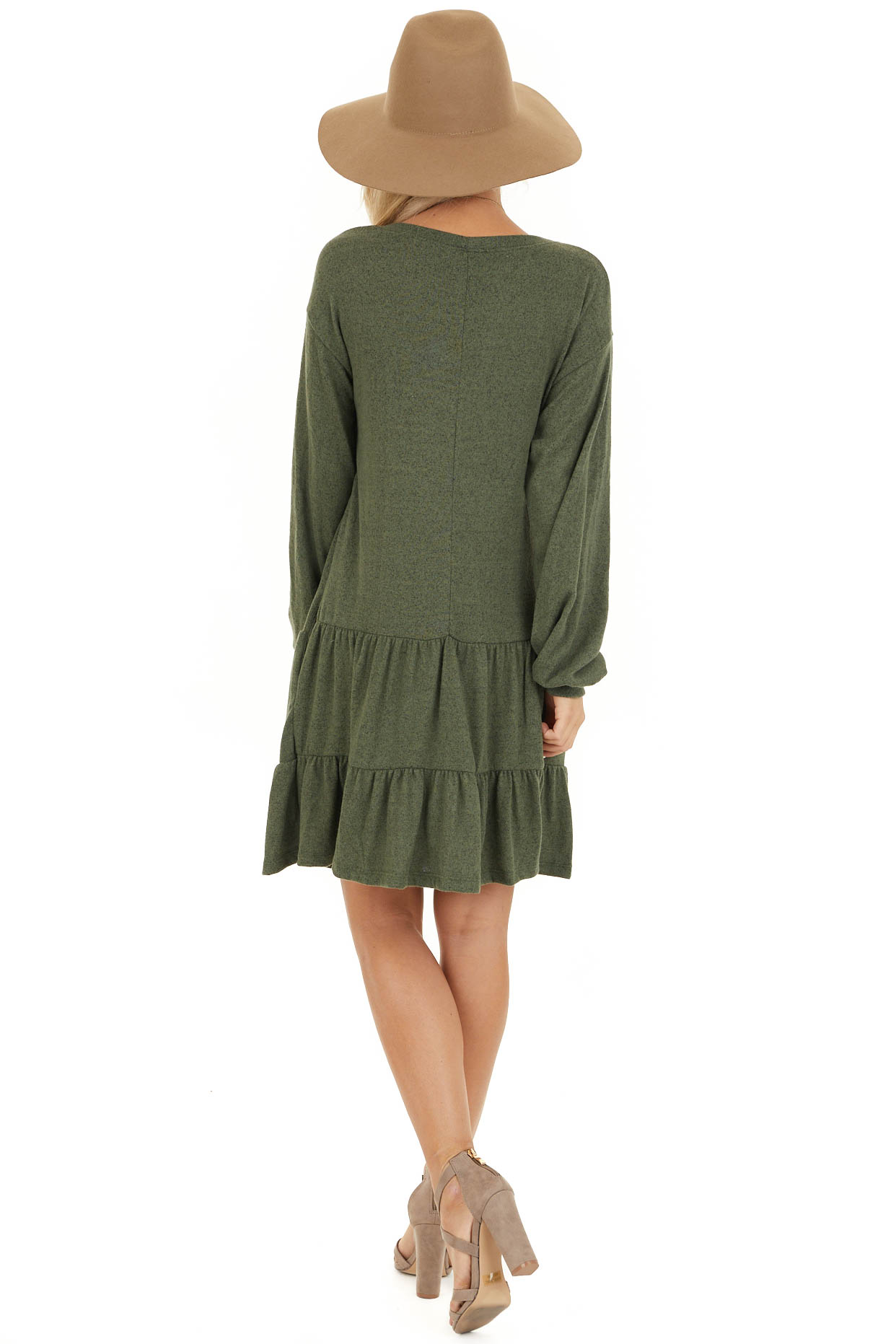 Army Green Long Bubble Sleeve Tiered Dress with Side Pockets back full body