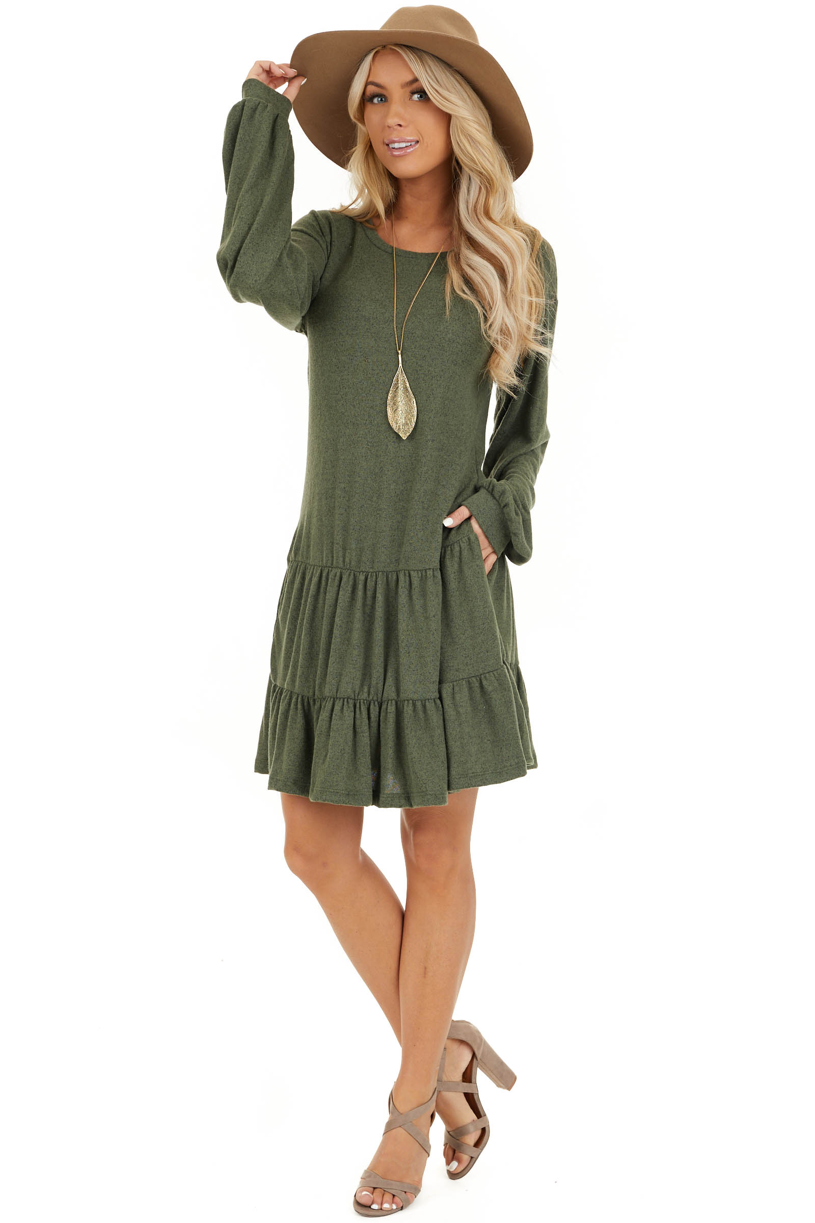 Army Green Long Bubble Sleeve Tiered Dress with Side Pockets front full body