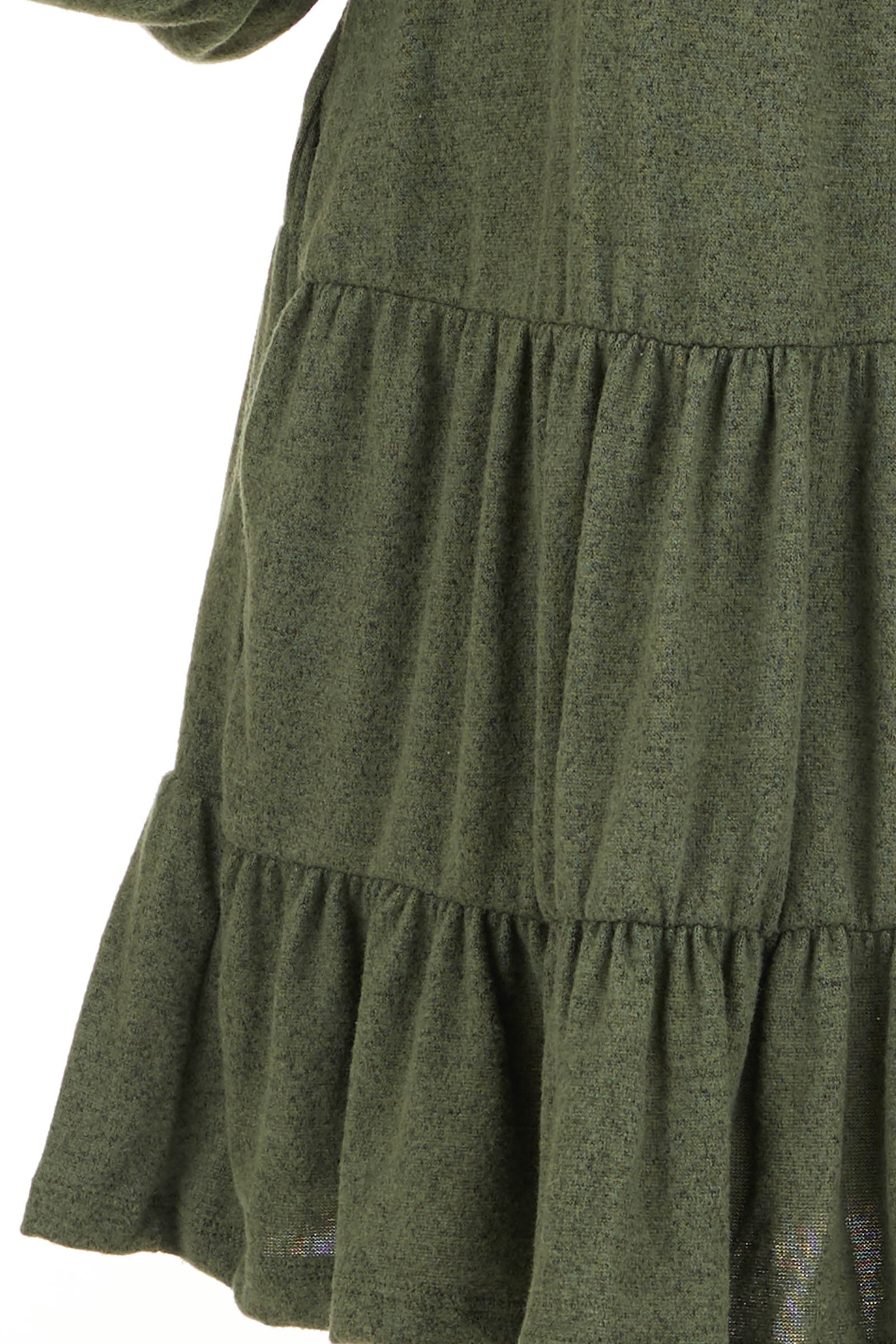 Army Green Long Bubble Sleeve Tiered Dress with Side Pockets detail