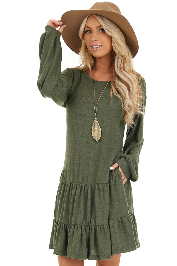 Army Green Long Bubble Sleeve Tiered Dress with Side Pockets front close up