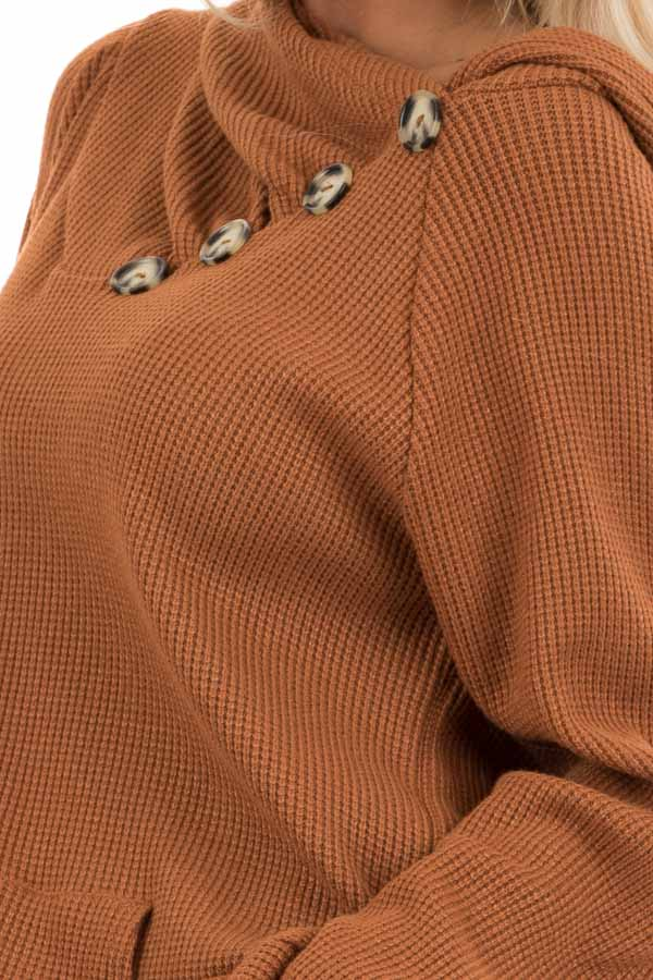Tawny Waffle Knit Hooded Top with Asymmetrical Button Detail detail