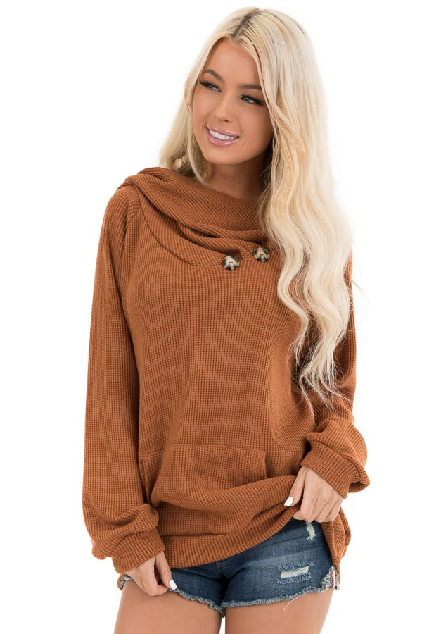 Tawny Waffle Knit Hooded Top with Asymmetrical Button Detail front close up