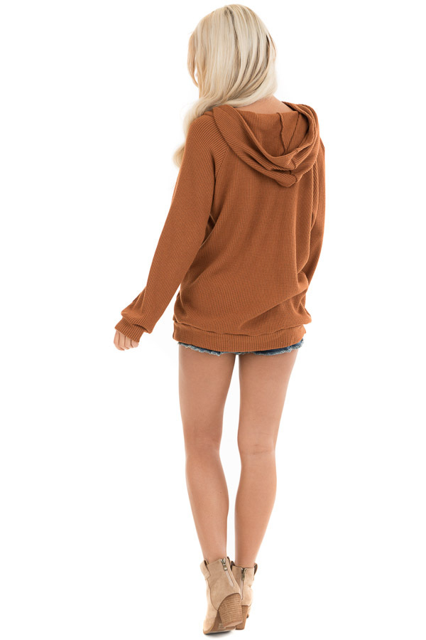Tawny Waffle Knit Hooded Top with Asymmetrical Button Detail back full body