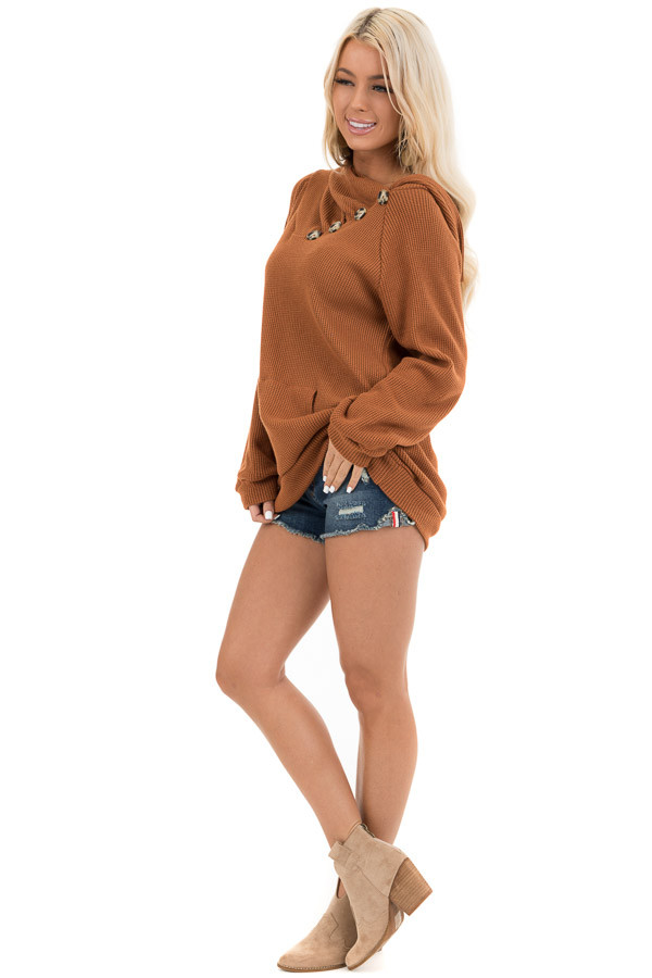 Tawny Waffle Knit Hooded Top with Asymmetrical Button Detail side full body