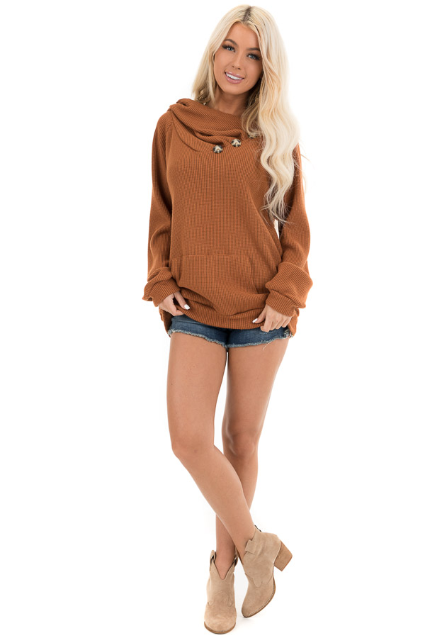 Tawny Waffle Knit Hooded Top with Asymmetrical Button Detail front full body