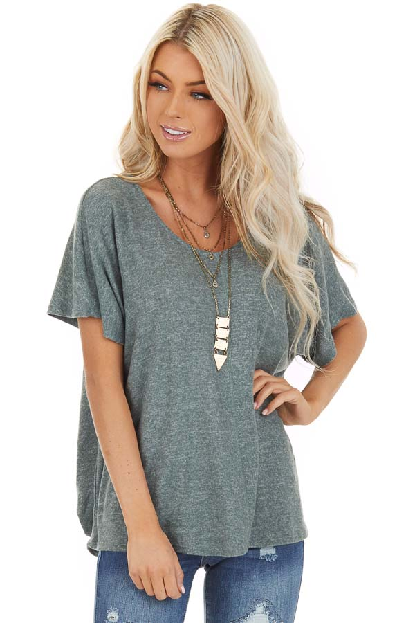 Dusty Olive Short Sleeve Top with Back Cutout and Twist front close up
