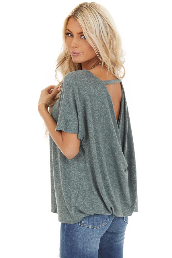 Dusty Olive Short Sleeve Top with Back Cutout and Twist back side close up