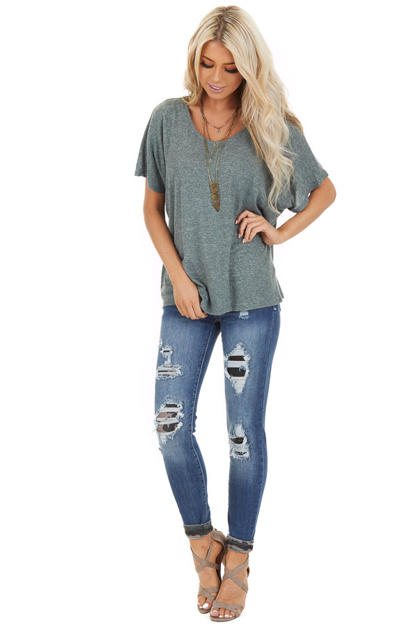Dusty Olive Short Sleeve Top with Back Cutout and Twist front full body