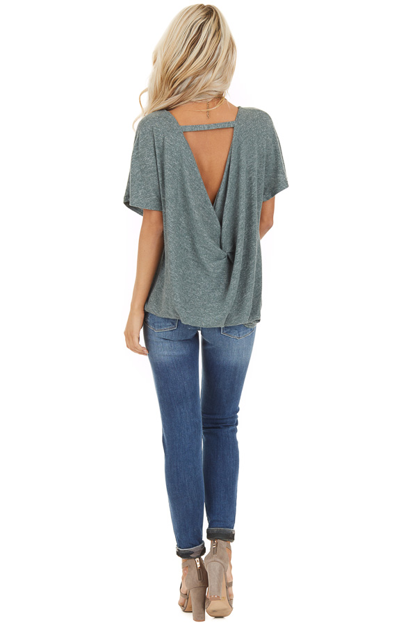 Dusty Olive Short Sleeve Top with Back Cutout and Twist back full body