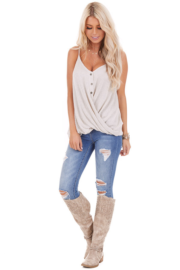 Ivory and Pale Grey Pinstriped Henley Tank Top front full body