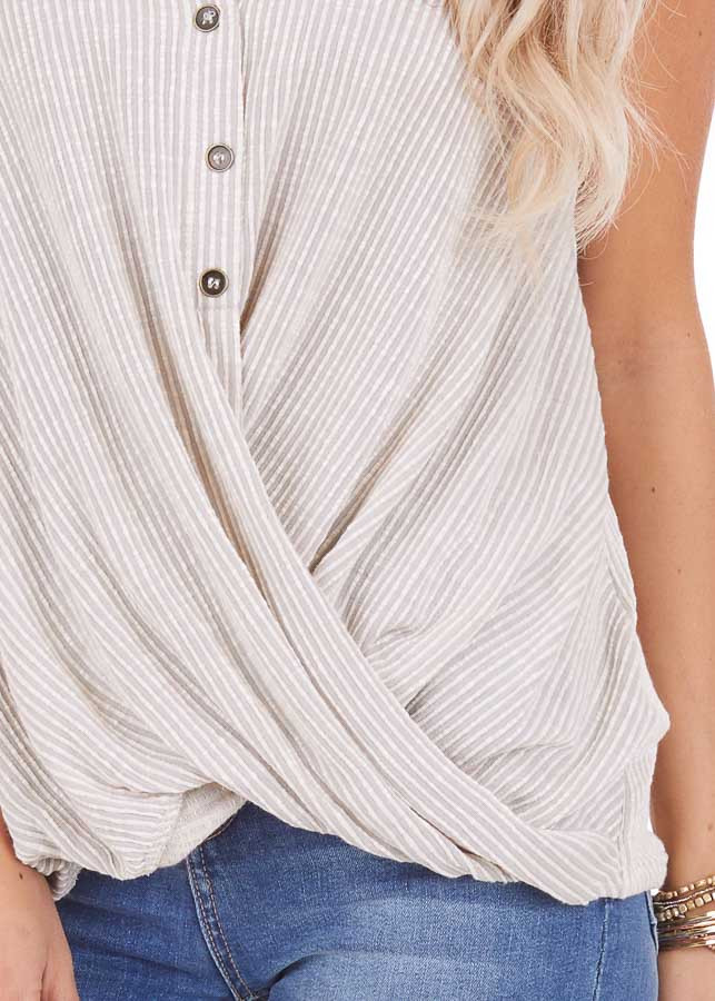 Ivory and Pale Grey Pinstriped Henley Tank Top detail