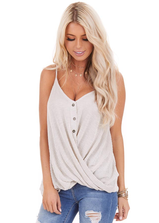 Ivory and Pale Grey Pinstriped Henley Tank Top front close up