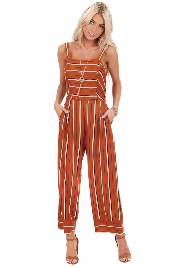 Rust Striped Wide Leg Sleeveless Jumpsuit with Back Tie front full body
